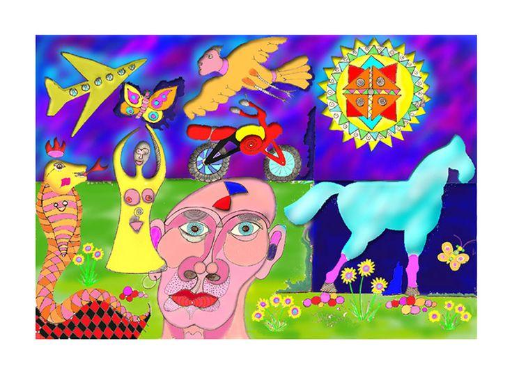 Julian Venter.  Berlin Trip.  26 cm x 18 cm.  http://julianventer.com/berlin-trip.html  Blue workhorse.  Snake king yearning for the Butterfly goddess.  Birdman flying overhead and watching.  Multi pattern Sun breaking through the clouds.