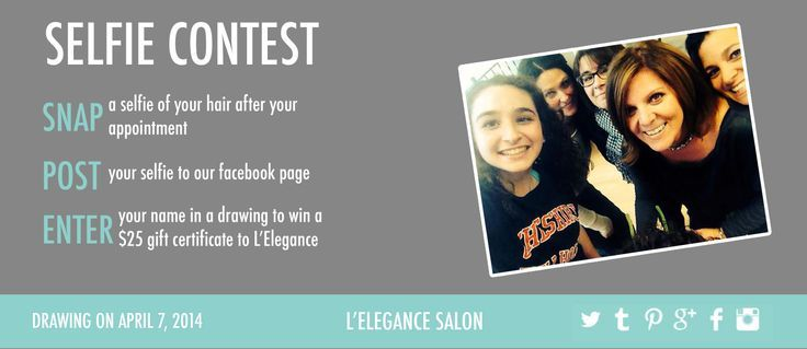 L'elegance Salon ran a competition encouraging customers to upload selfies to the Salon Facebook page after their appointments to win giftvouchers. L'elegance Salon Pinned the collection.  #selfie #hair #lelegancesalon