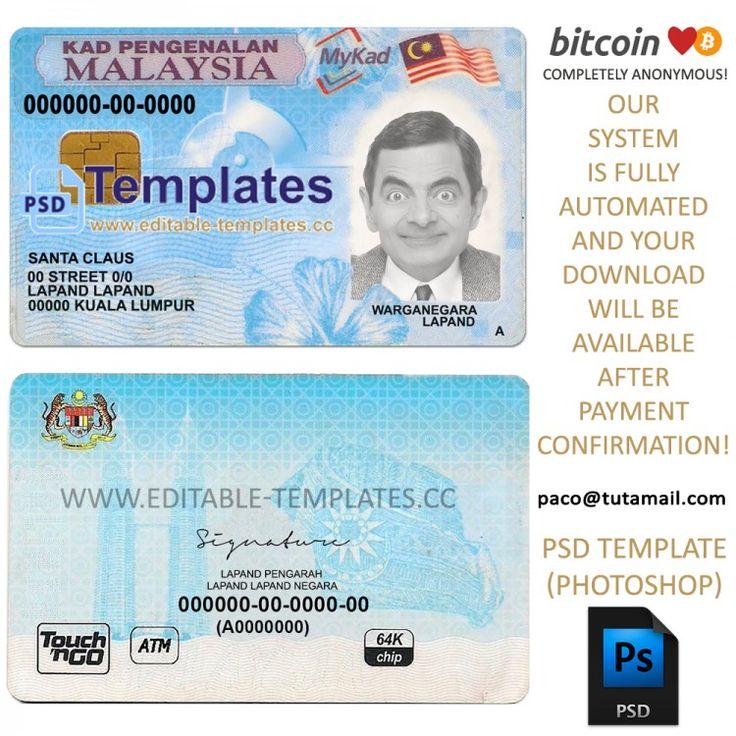 Malaysia ID Template in 2020 Templates, Psd templates