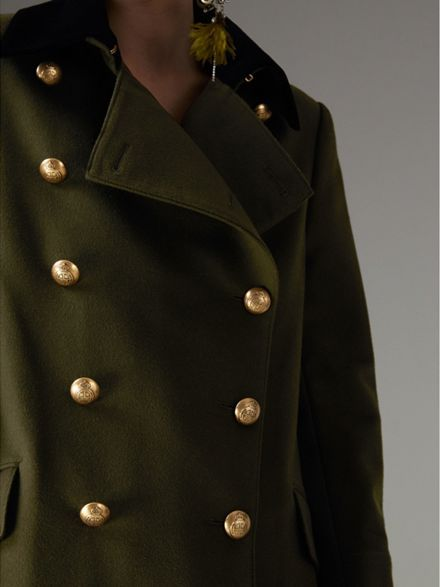 888296af4b7b Velvet Collar Wool Military Coat in Olive - Women