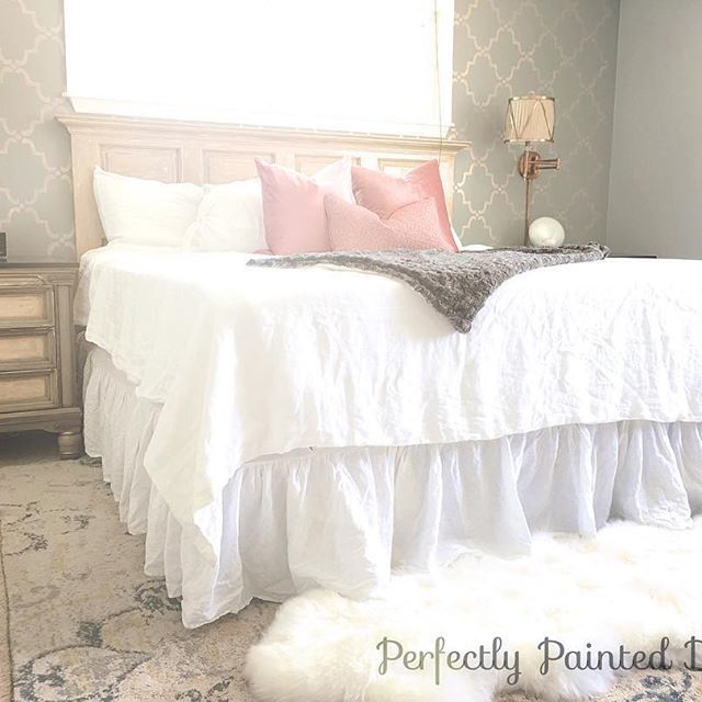 Linen bedskirt, adjustable bed, stencil wall, metallic stencil, modern masters paint, H&M home bedding  (Instagram @perfectlypainteddesigns)