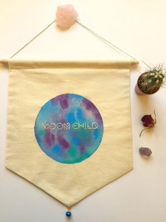 Bohemian wedding Gift  Custom Name Wall Hanging  Boho Moon