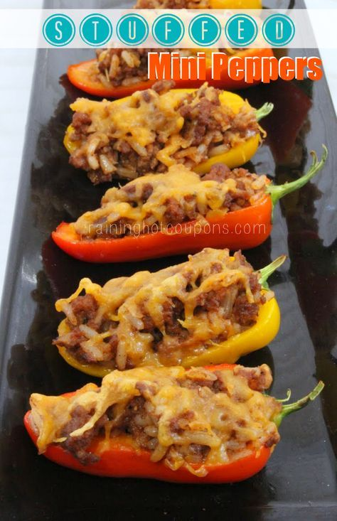 """Stuffed Mini Peppers...going to make this recipe with 95 percent ff chopped meat, brown rice and ww cheese, making this recipe """"almost"""" simple start :)"""