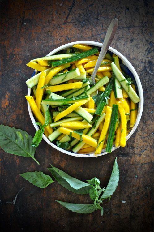 (Omit oil for Phase 1) Mango-Cucmber Salad with Cayenne Vinaigrette is a great picnic or cookout salad because you can make it in advance and it won't wilt -- and it tastes even better after an hour or two