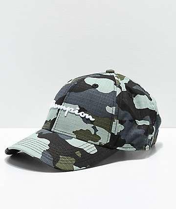 fb1cd934acd8a Champion Classic Twill Camo Logo Script Strapback Hat