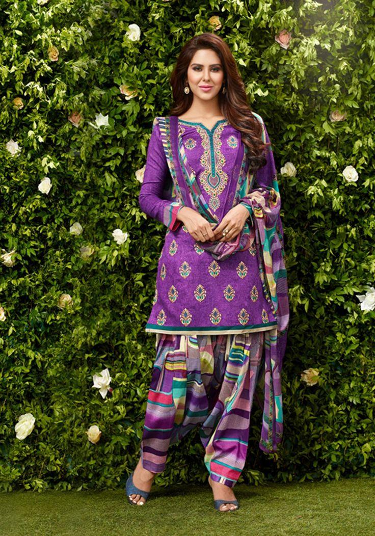 Purple Cotton Patiala Suit 65585