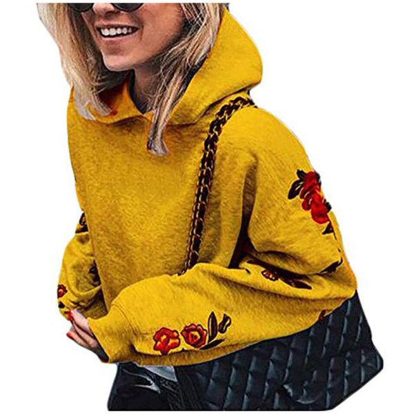 Women's Vogue Butterfly Printed Long Sleeve Hoodie Sweatshirts ($9.99) ❤ liked on Polyvore featuring tops, hoodies, yellow, long sleeve tops, yellow hooded sweatshirt, long sleeve hoodie, hooded pullover and long sleeve hooded sweatshirt