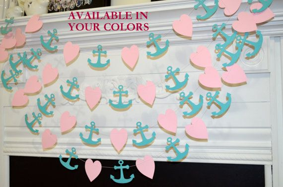 Anchor Heart garland pink heart turquoise by DCBannerDesigns