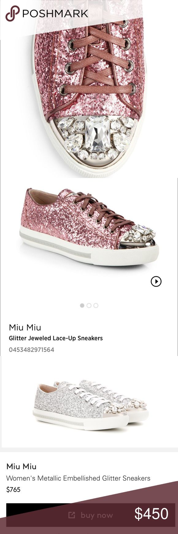 ✨Miu Miu Pink Glitter Sneakers size 35 1/2 ✨ Miu Miu Sneakers size 35 1/2 Autentic Preown Great condition!!! Beautiful !!!✨ SOLD OUT more description on pictures! More picture coming soon!!! Miu Miu Shoes Sneakers