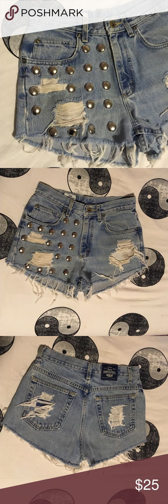 DIY High waisted jean shorts Cut from original Lee Dungarees jeans. Silver studs added to one side. Lee Dungarees Shorts Jean Shorts