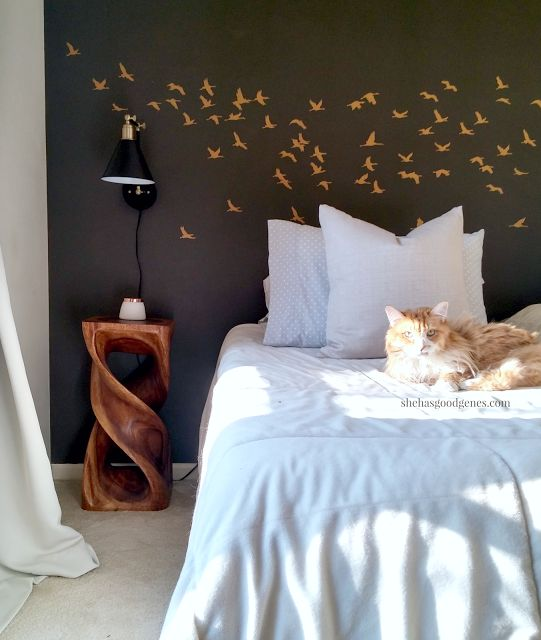 a diy stenciled bedroom accent wall in dark gray and metallic gold using the flock of. beautiful ideas. Home Design Ideas