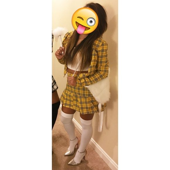 Cher Clueless costume yellow plaid skirt blazer As if! Homemade! Cher Clueless costume with yellow plaid skirt and blazer. What's included? Skirt, blazer, and fake fur white backpack! You can't find this anywhere else for this great deal! I'm a size 0-2 and small top. Other