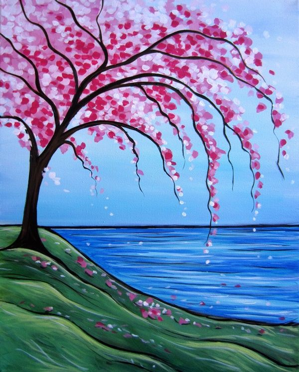 40 Simple And Easy Acrylic Landscape Painting Ideas Landscape Paintings Acrylic Cherry Blossom Painting Nature Paintings