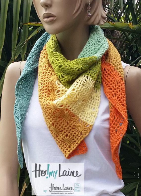 Chèche ajourée ou petit châle multicolore (laine Fonty) fait-main, exemplaire unique