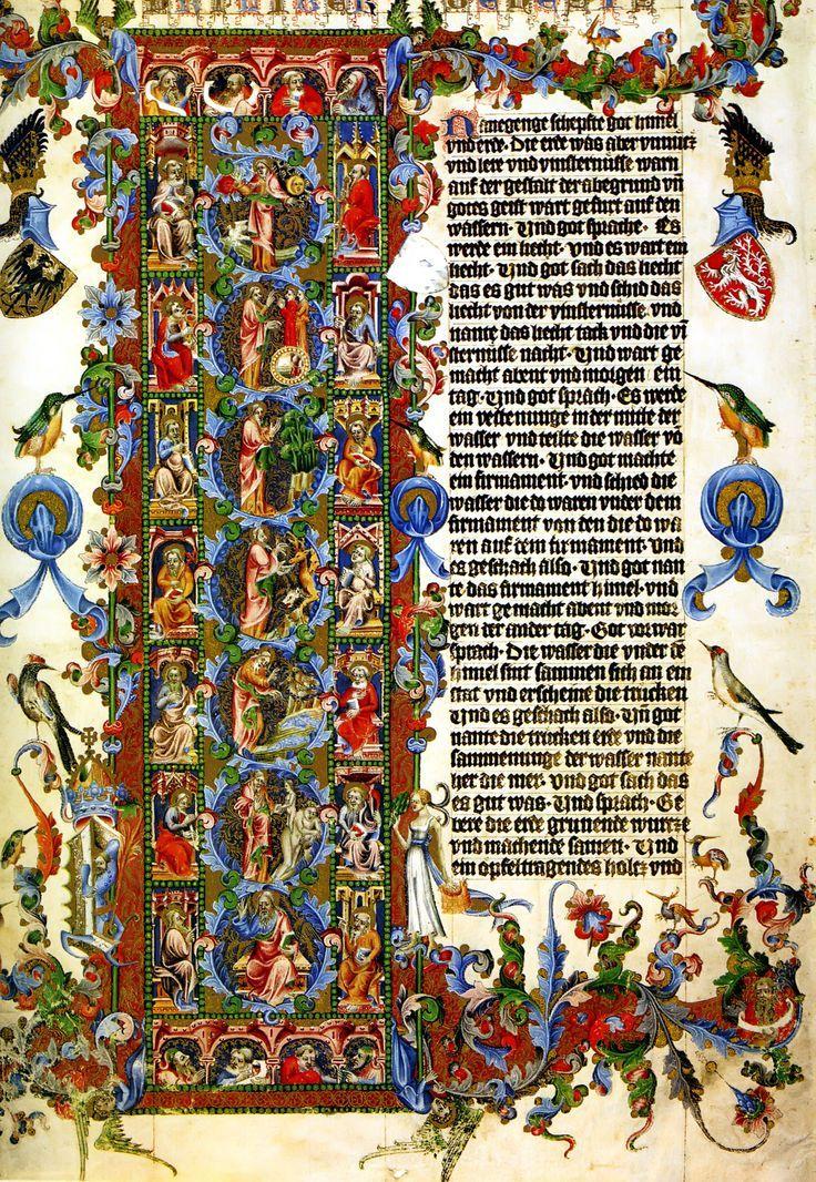 English In Italian: Initial Letter Of Genesis Illuminated Manuscript Art
