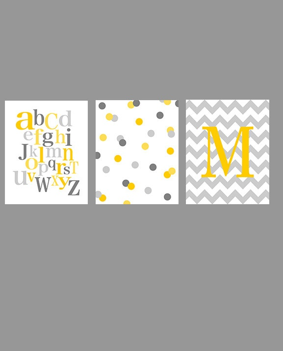 Nursery art - kid's wall decor - set of three - alphabet dots chevron initial - yellow and gray - digital print - 8x10 on A4. €33.00, via Etsy.