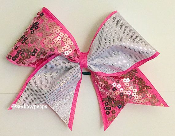 Pink sequin cheer bow by MyBowPeeps on Etsy
