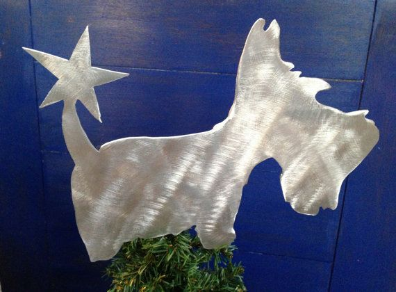 Scottish Terrier, Scottie Dog Christmas Tree Topper, Holiday Decoration, Aluminum $24
