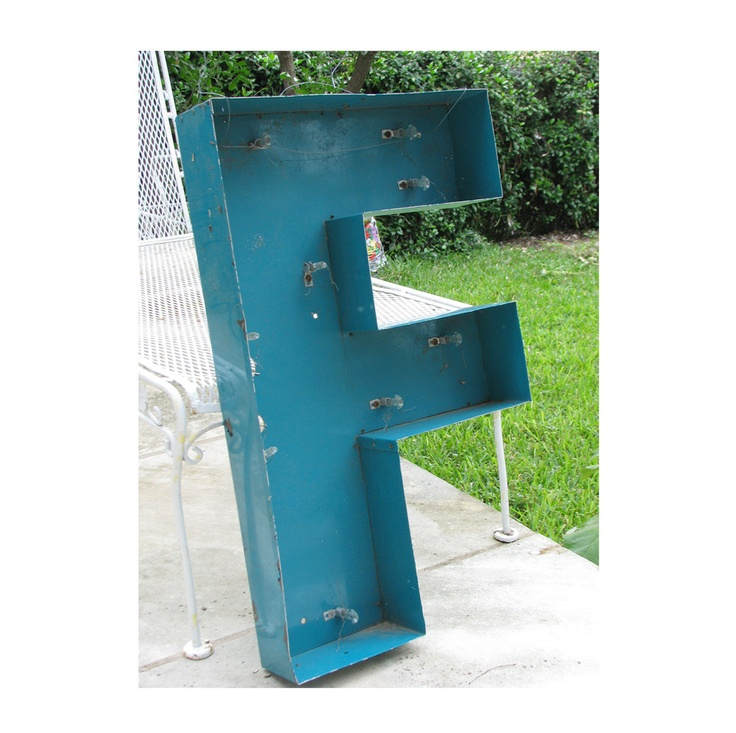very large vintage channel letter quotfquot metal sign marquee With large channel letters