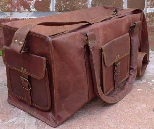 "Handmade Men's Real Leather Vintage Large Duffel Gym Cabin Bag Briefcase 25"" Duffle Bags Brown Men India China Duffle/gym"
