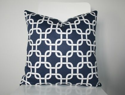 Beautiful Designer Geometric Cover, Classic Navy and White
