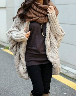 Absolutely love oversized sweaters + scarfs!!