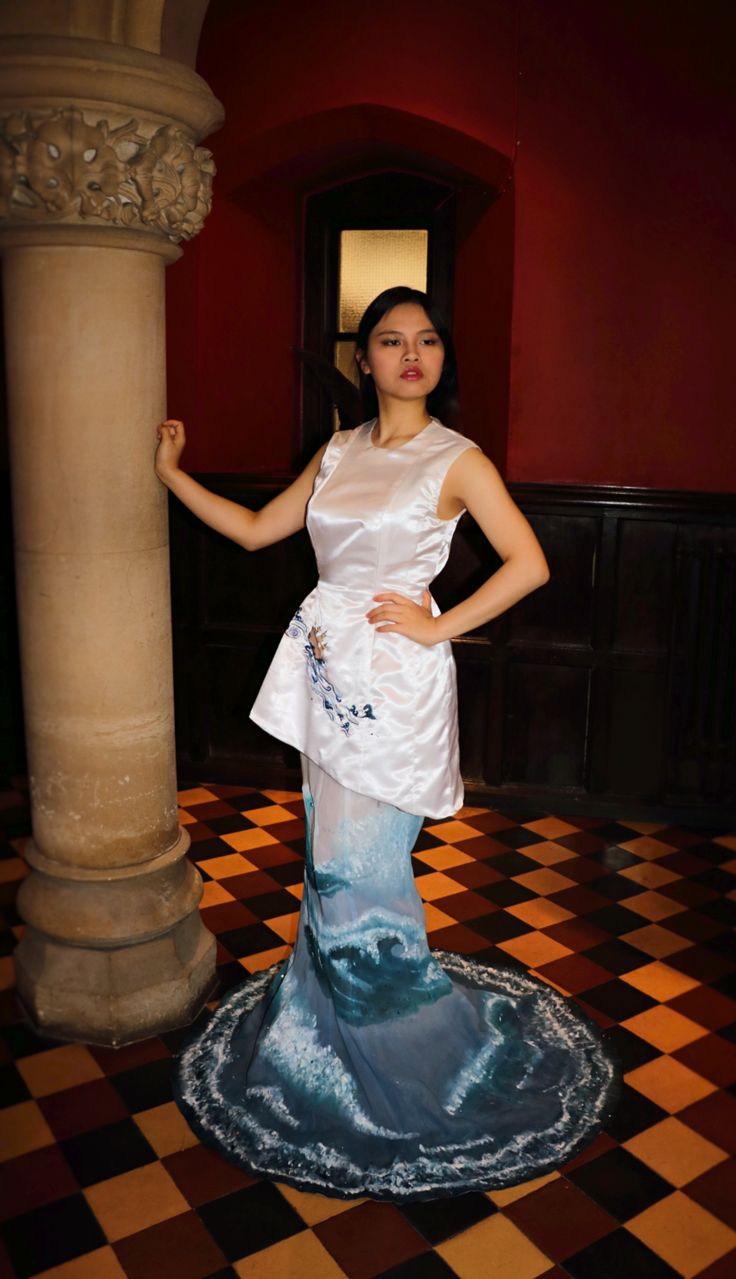 My final Pre U dress.  Porcelain trading dress. embroidery acrylic paint and beading.  Jade Chan 2016