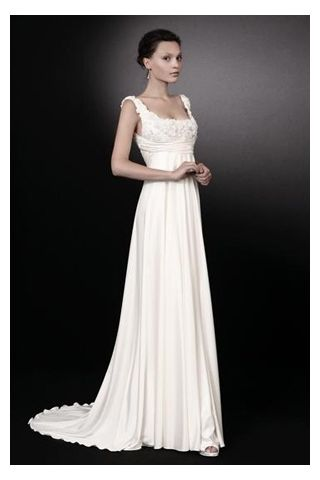 Classic Satin Empire Consignment Wedding Dress with Square Neckline, Quality Unique Wedding Dresses - Dressale.com