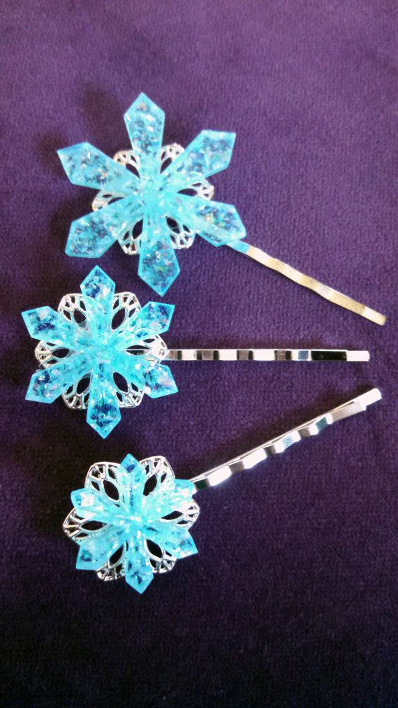 Sparkling Laser Cut Snowflake Hair Pins by LaserBlastLaserCraft