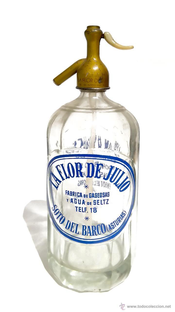 SIFÓN LA FLOR DE JULIO - SOTO DEL BARCO (ASTURIAS) - (Botellas, Cajas y Envases - Botellas Antiguas)