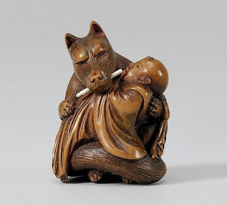 A boxwood netsuke of kuzunoha mid th century the fox