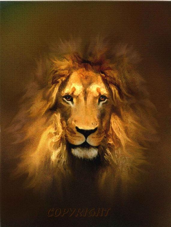 Lion art print GOLDEN KING aslan narnia by lewfoster - Robert Foster on Etsy