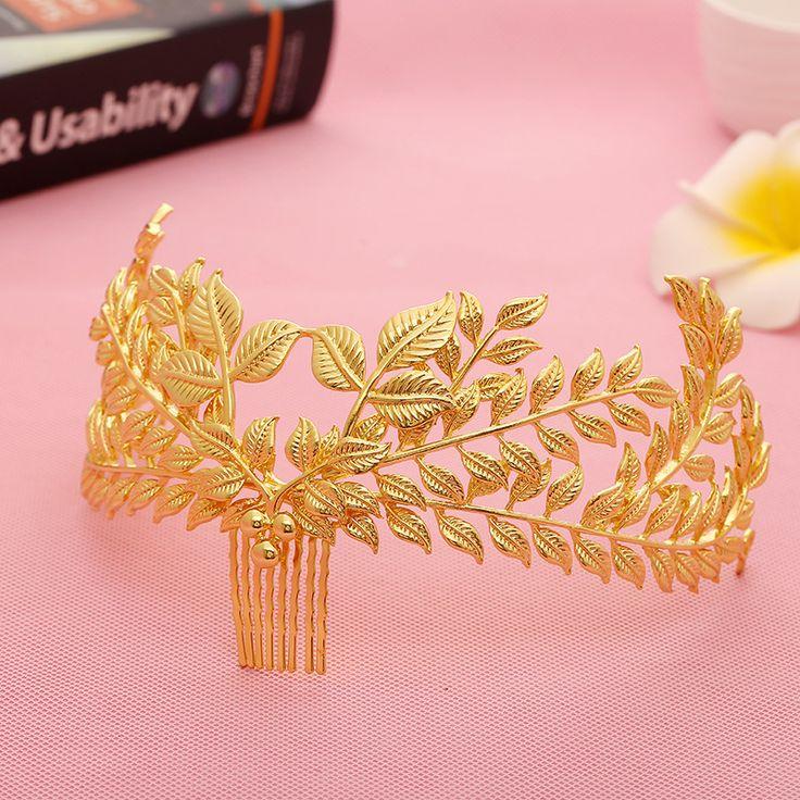 Vintage Bruids Haaraccessoires Bruiloft Goud Kleur Blad Kroon Lichtmetalen Kammen Tiara Voor Bruid Haar Sieraden Hoofd stuk