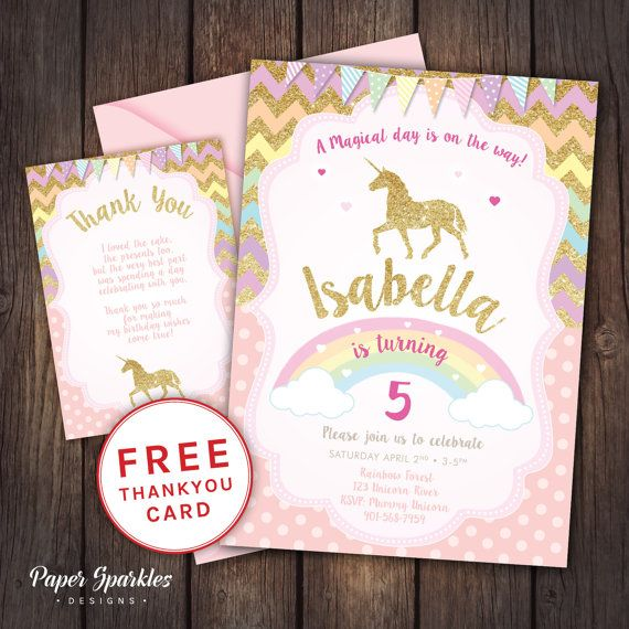 Unicorn Glitter effect, digital Birthday invitation  FULLY CUSTOMISABLE, 5x7 digital Birthday Invitation *Comes with FREE Thank you card for