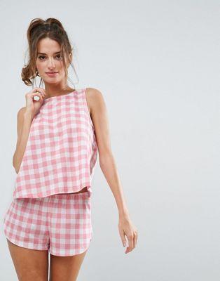 Пижамный комплект с майкой и шортами в клетку ASOS