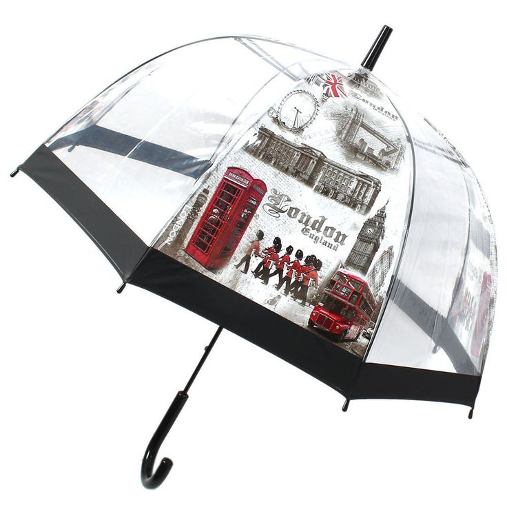 Crooked Handle Cool London Street Printed Dome Umbrella Clear White Gray
