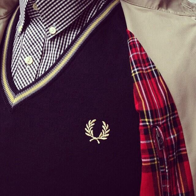Gingham shirt ,v-neck sweater & Harrington!  #AmsterdamAuthenticstore #Hatenstraat 25
