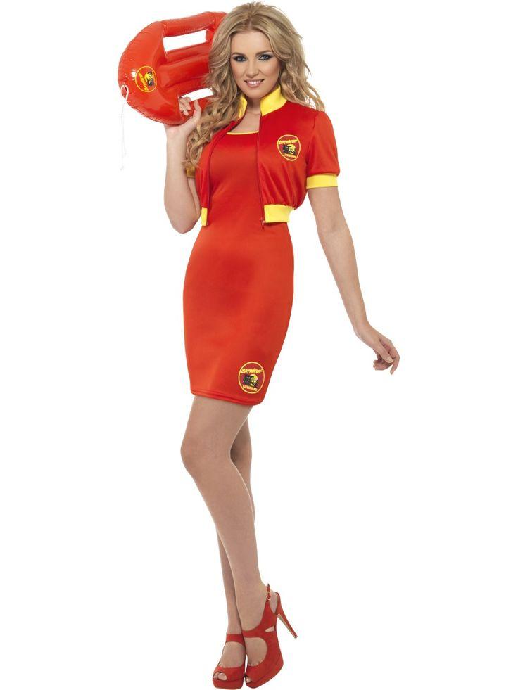 Baywatch rantavahti. Baywatch hengenpelastajan naamiaisasuun kuuluu sähäkän punainen mekko ja jakku.