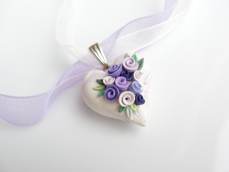 Heart pendant in lilac and cream polymer clay with purple roses on organza ribbon necklace. $18,00, via Etsy.
