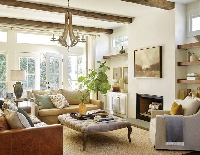Farmhouse Living Room With Wood Leather And Neutrals Via Anna Braund Interiors Atlanta Magazine