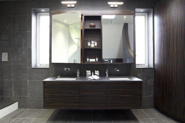 bathroom trends 2016- tumedate toonide ja valgustuse oskuslik kasutamine loob spaa-lähedase look'i