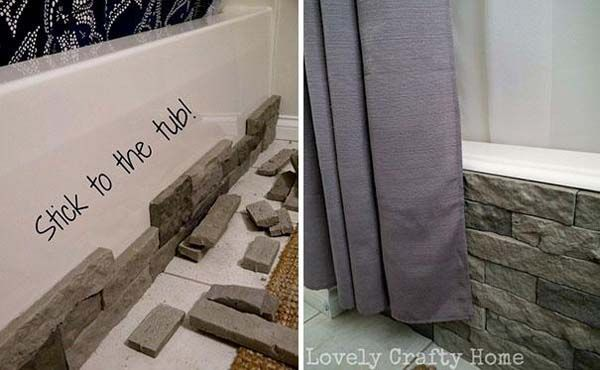 13.) Cover a normal bathtub with imitation stone siding. 21 more ideas at http://www.viralnova.com/ideas-to-hide-items/