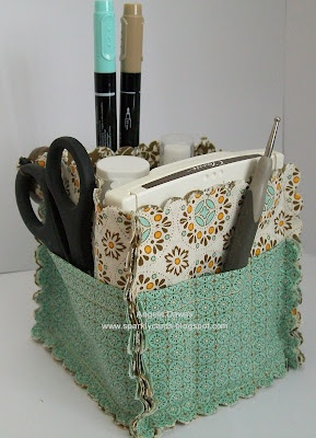 Stampin' Up! fabric basket - LOVE this idea! Cute little coordinated gift set!