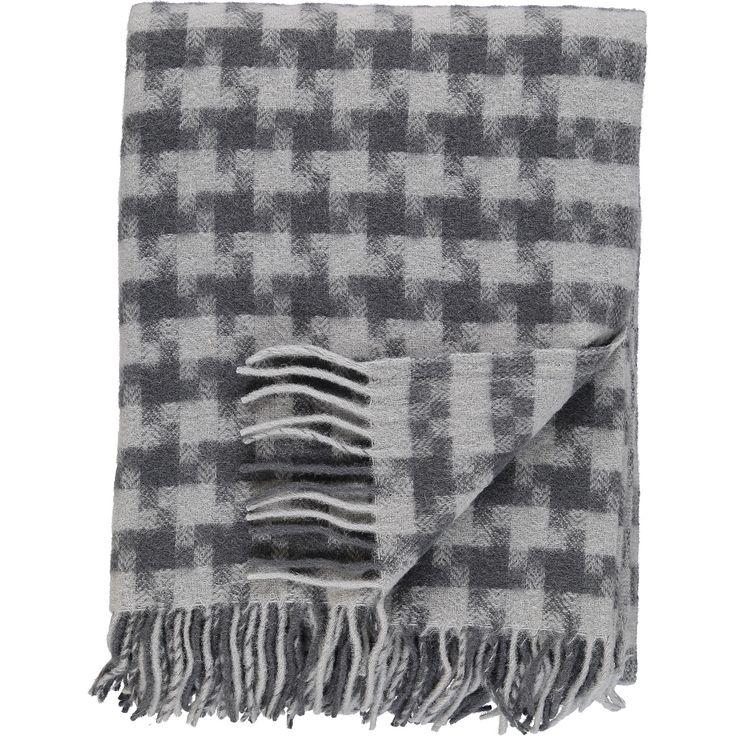 """Drobe"" Grey Square Patterned Woolen Throw - TK Maxx"