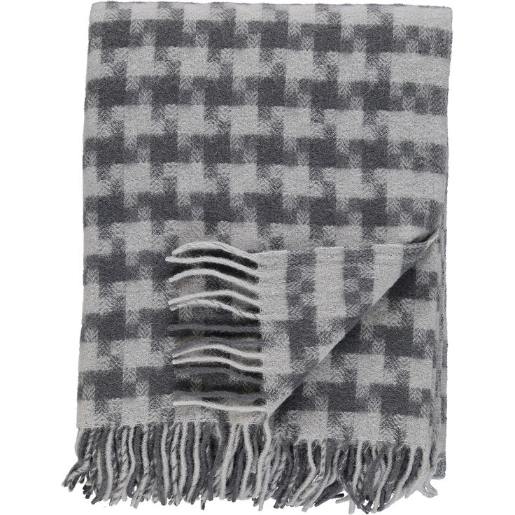"""Drobe"" Grey Square Patterned Woolen Throw - TK Maxx"