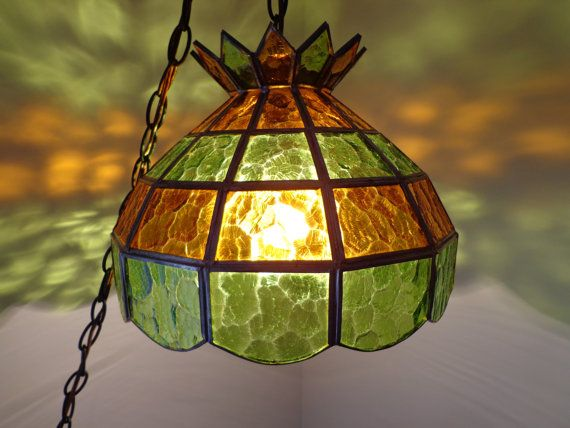 Vintage tiffany stained glass green gold swag hanging chandelier ceiling light from the 1960s