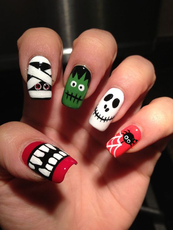 Halloween nail art - 45 Cool Halloween Nail Art Ideas <3 <3