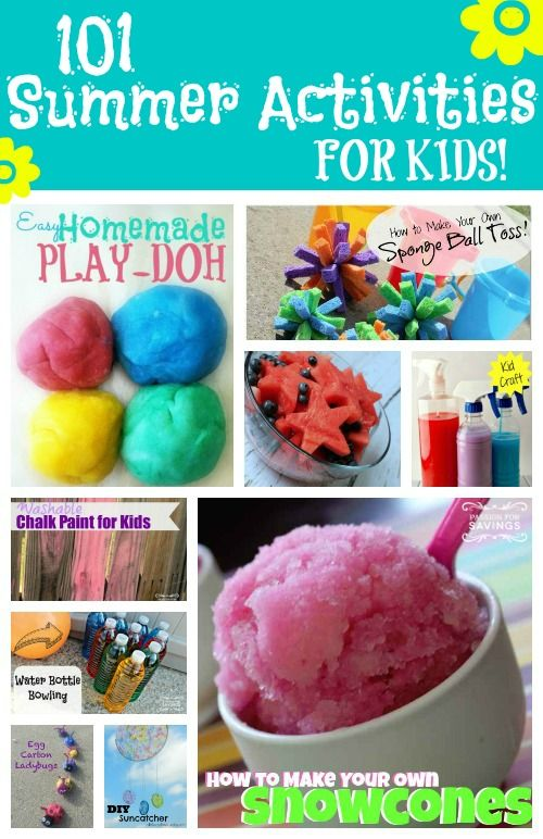 Here are 101 Summer Activities for Kids including Kids Crafts, Kids Recipes, Outside Kids Games, and Water Games for Kids! Have fun all summer long!