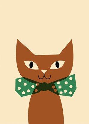 Simplistiskt designmotiv av Anna Kövecses: Katt med fluga