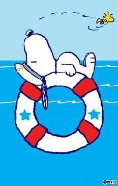 Snoopy Floating on a Life Preserver With Woodstock Flying Overhead